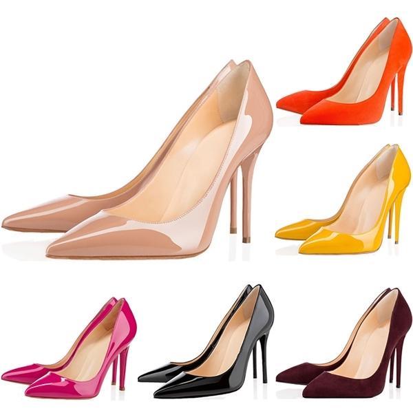 Nuovi pattini delle donne superiori Red Bottoms Tacchi alti punta aguzza sexy Sole 8 centimetri 10 centimetri 12 centimetri Pompe Vieni sacchetti di polvere scarpe da sposa 36-42