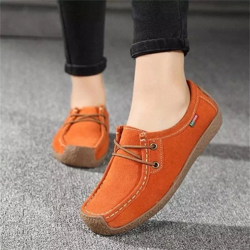 Dahood Femmes Loafers Dropshipping 2019 Automne Nouveaux Soft Dames Chaussures plats à lacets Casual Chaussures de sport Femmes non glissières Plus Taille # FT1U