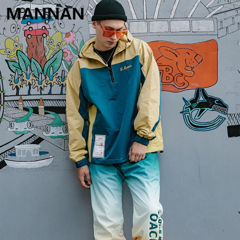 Mannan Metade Vintage Zip Color Block Patchwork Blusão Moletom Bordado Jaquetas Homens Casual Exteriores Streetwear Coats 2019
