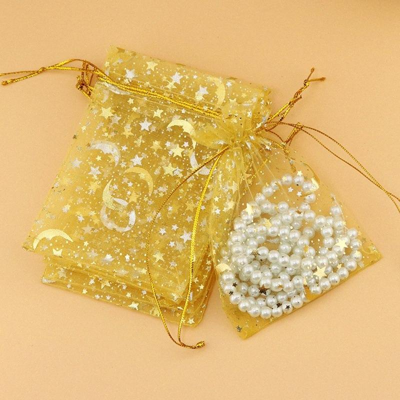 100pcs 9*12cm organza bag Gauze bag star-moon special design organza package bronzed wedding gift candy delicate jewelry package fJ3d#