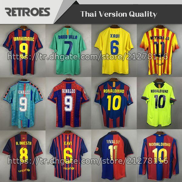 1996 1997 الرجعية Soccer Jersey 11 12 Guardiola Home 11 Away الكلاسيكية تايلاند Quaersey Stoichkov 2006 رونالدينيو 98 99 Rivaldo Football Shirt