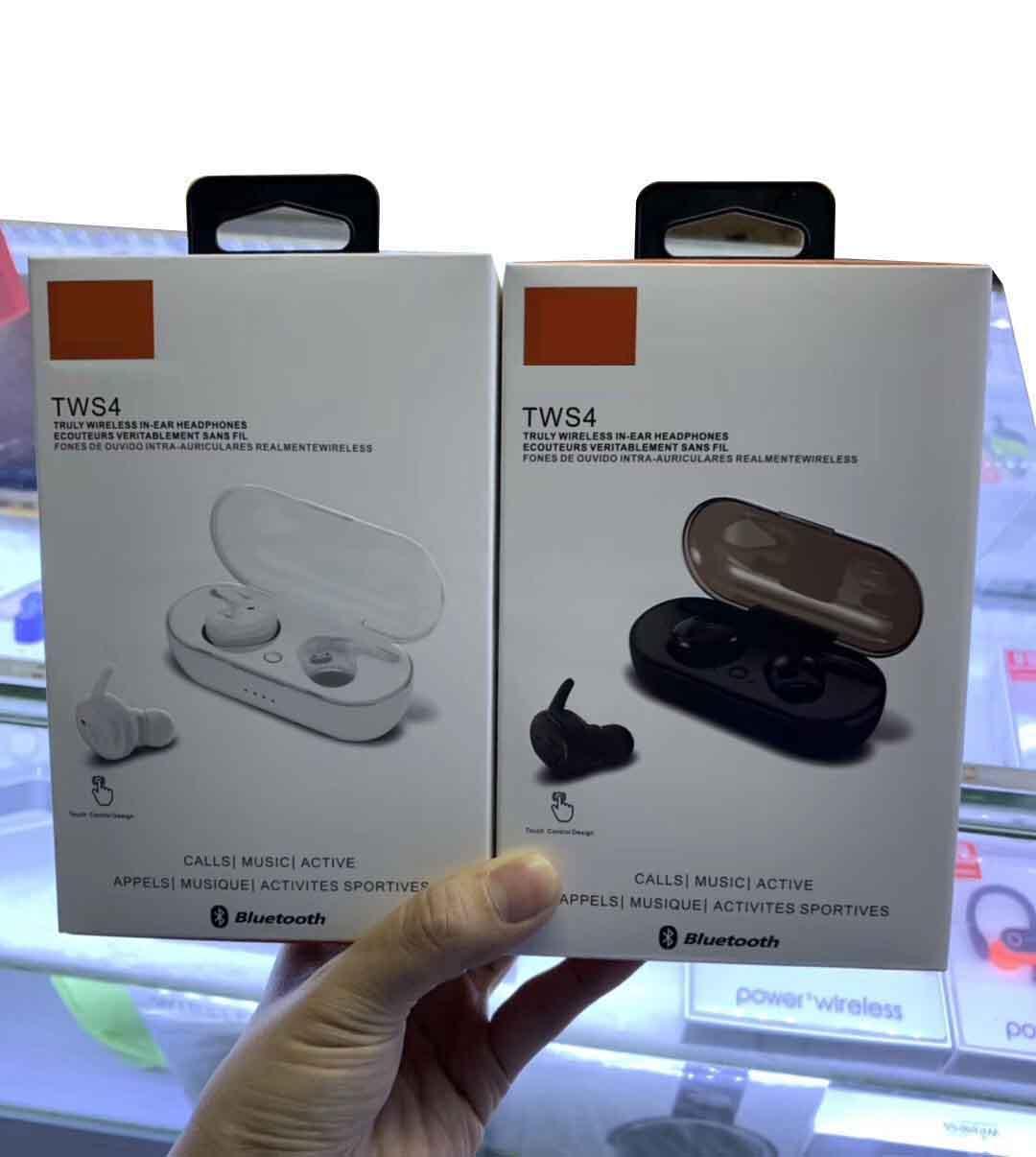스마트 폰에 대한 차링 상자와 미니 무선 이어폰 브랜드 TWS4 JL 스포츠 블루투스 헤드셋 스테레오 이어폰 이어폰