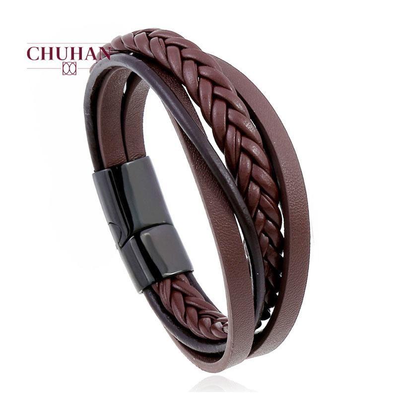 CHUHAN Fashion Punk Vintage Men Bracelet Multilayer Stainless Steel Woven Leather Bracelet Casual Hip Hop Jewelry J226