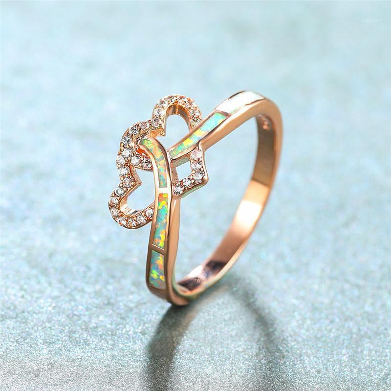Boho Femmina Crystal Stone Anello Classico Rosa Gold Colore Corona Anelli di nozze per le donne Bianco Fire Opal Love Heart Heart Engagement Ring1