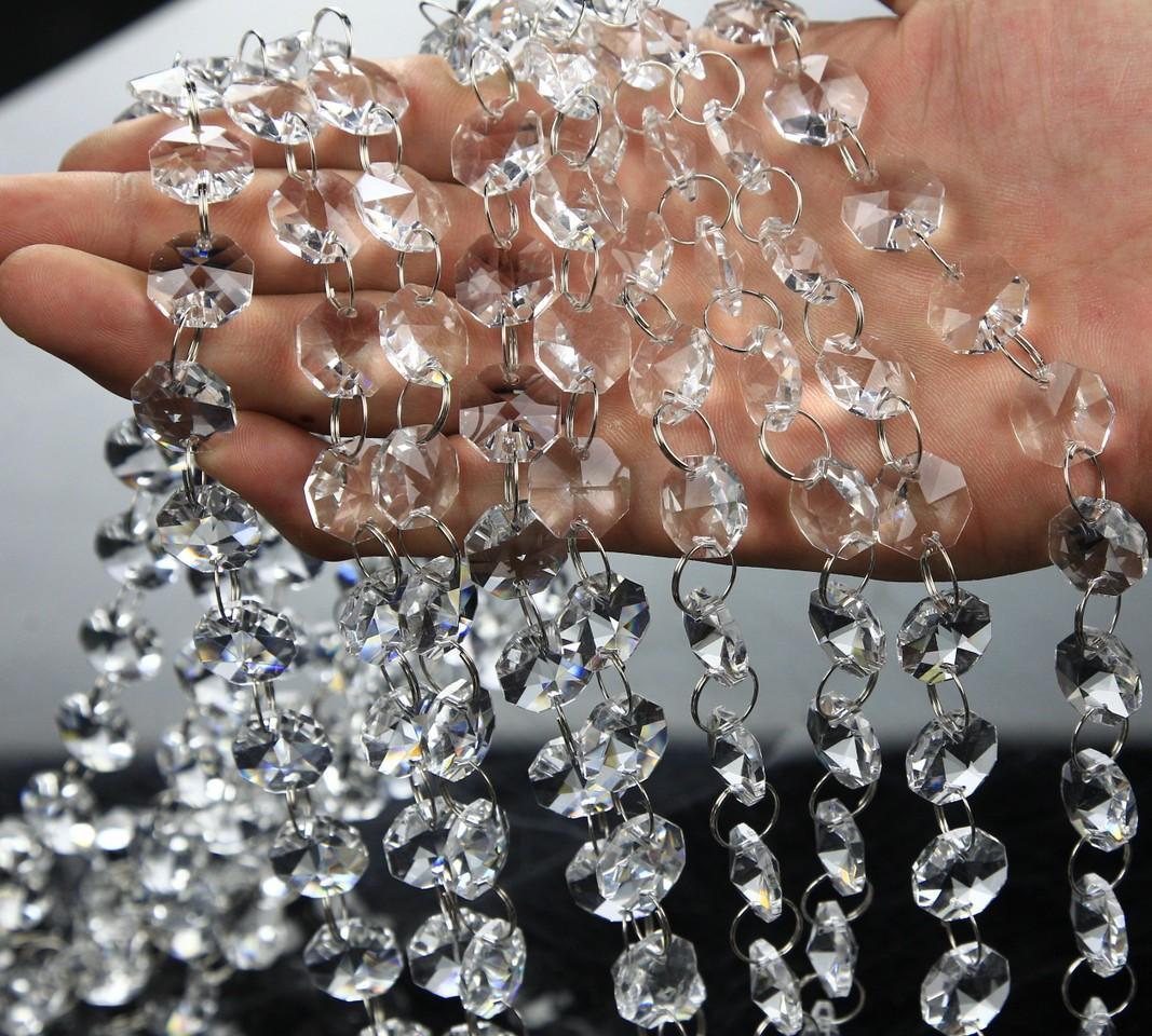 Kristal Prizma Boncuk Süs Düğün Yolu Kurşun Akrilik Kristal Sekizgen Boncuk Perde Avrupa DIY Craft Düğün Dekorasyon 10m / Lot