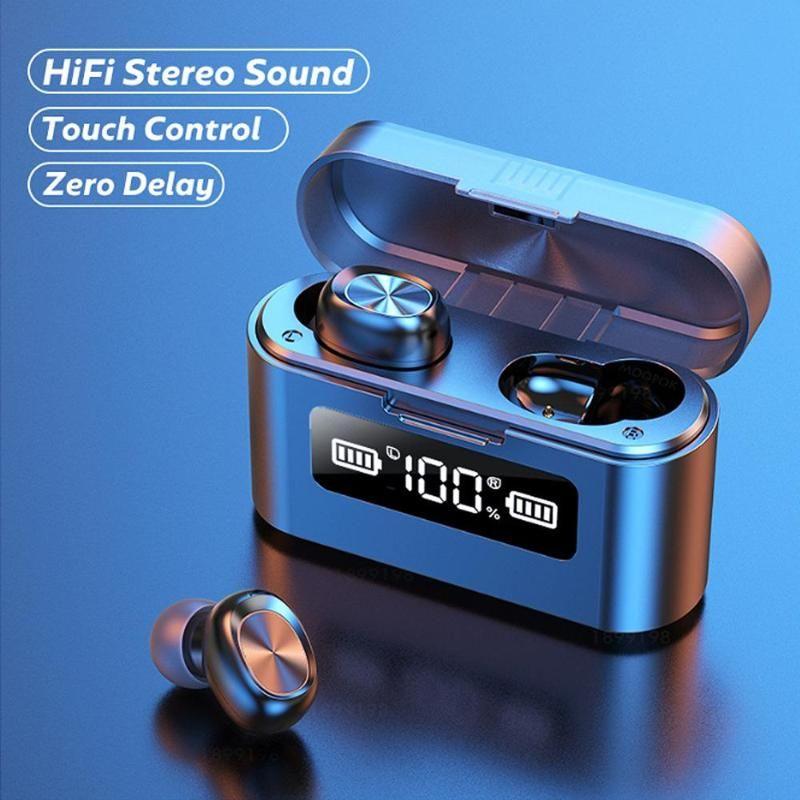 Sem fio Bluetooth fone de ouvido com microfone Sports Waterproof Touch Control música Earbuds para o telefone sem fios Auscultadores Headset