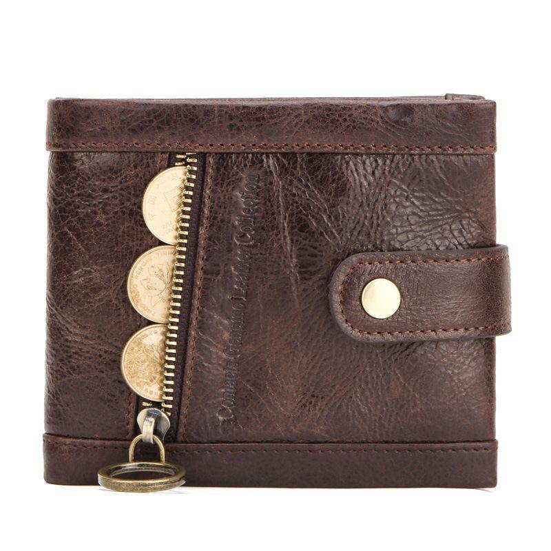 정품 가죽 남성 지갑 동전 지갑 여성 남성 작은 카드 홀더 RFID를 지갑 걸쇠 디자인 캐주얼 Portfel 지퍼 포켓 M1308