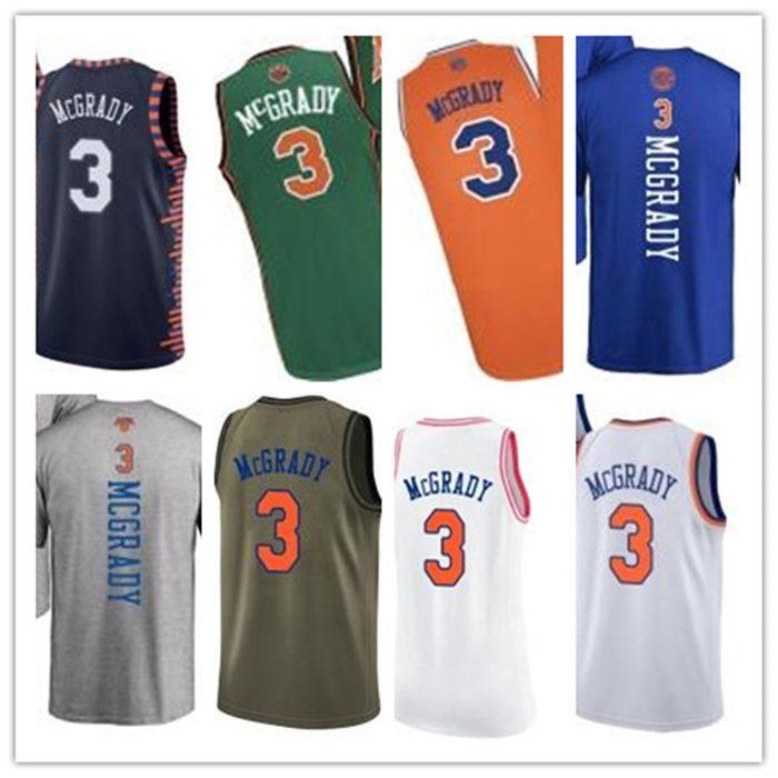 Custom 2020 Knick Style Jerseys Noir Blanc Green Green Army Army Green 3 TracyJersey de Basketball McGrady