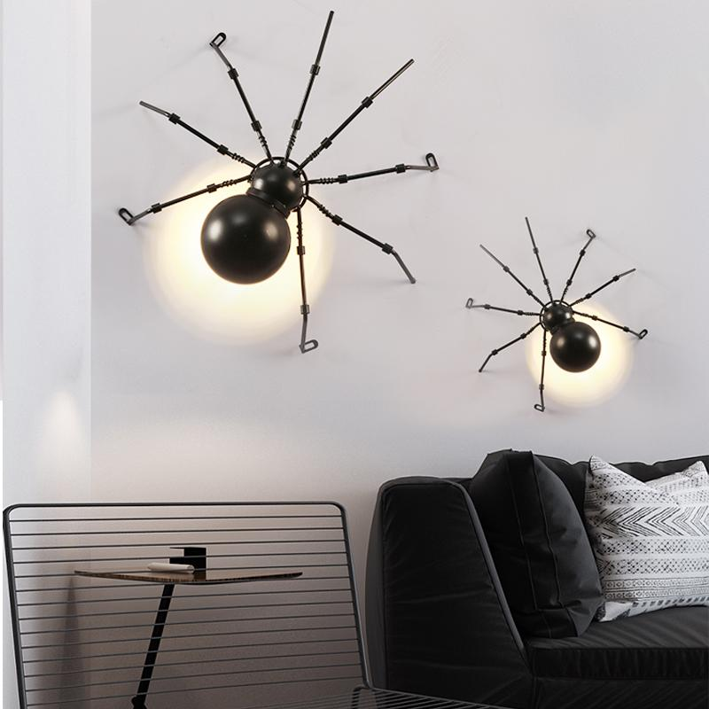 Amerikan Kişilik Böcek Duvar Lambası Yaratıcı Bar Restoran Koridor Örümcek Dekoratif Duvar Işık Retro Endüstriyel LED Işıklar Dekorasyon Duvar