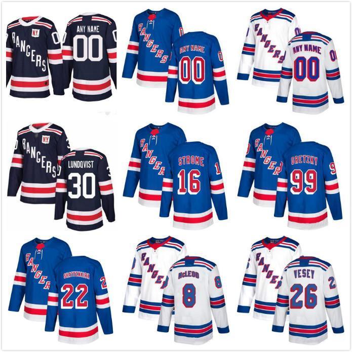 맞춤형 남성 아이들 여성 뉴욕 레인저스 유니폼 99 Wayne Gretzky 26 Vesey 61 Nash Pavel 모든 번호의 모든 이름 Hockey Jersey 사용자 정의