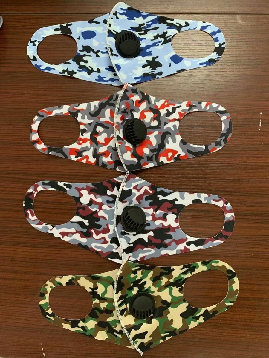 Máscara colores de camuflaje reutilizable Válvula de Camo de seda del hielo de la cara 120pcs máscaras de respiración adultas 5 Cara cubierta mufla respiración por la boca de la válvula CCA1229 Numr