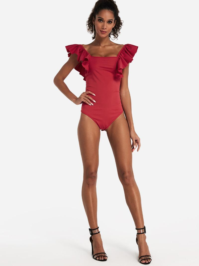 2 colores Sexy Fashion Women Sólido Red Roble Sleeve Breve Sweet Vendaje Funda con volantes Body Leotard Tops Rompers Jumpsuit1