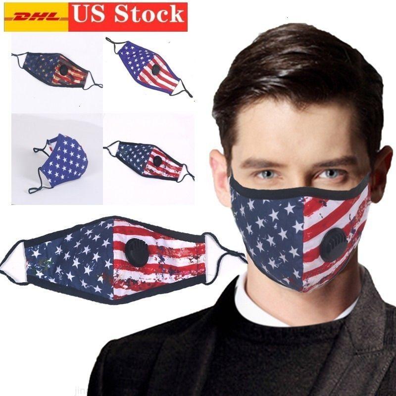 Bandiera di cotone Progettato Americano US American US Reusable Stock Muffle respiratura Valvola di riparazione Valvola di ricambio Filtro filtro Maschera stampata FY9123. W1.