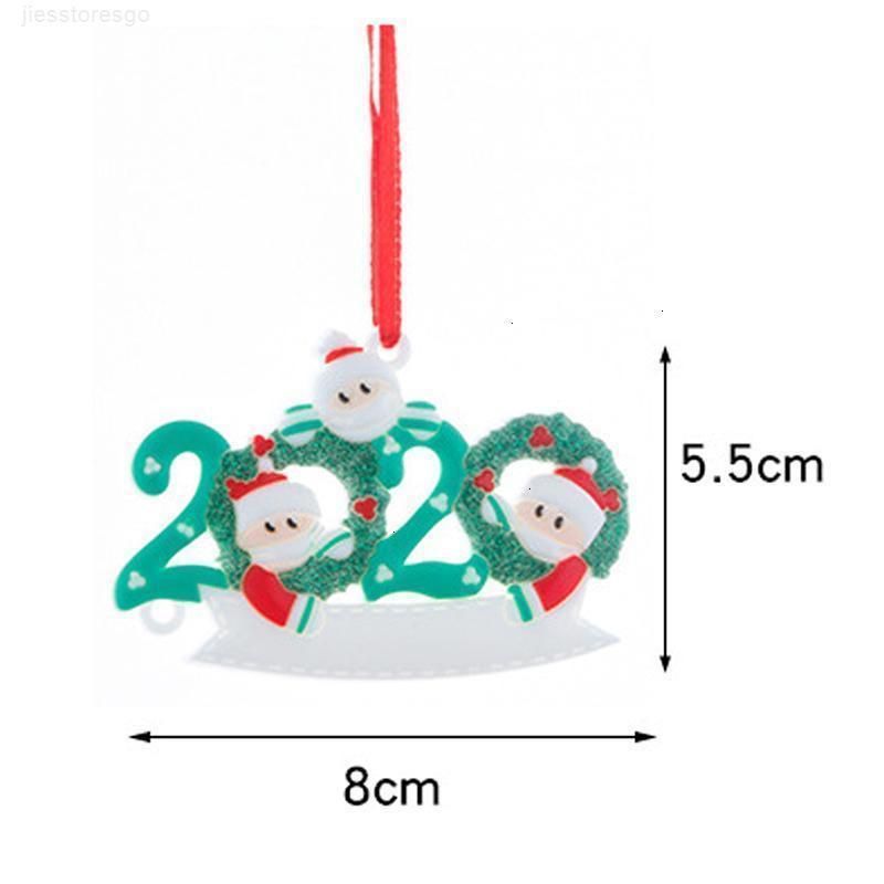 2020 Quarantine enfeites Xmas presente das árvores de rena Customized Family sobrevivente do Hang Detalhes no boneco de neve Pendant Com Face MaskQK