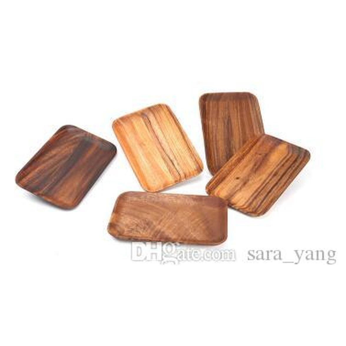 Wood Fruit Plates Rectangular Tray Dried Wood Trays Snack Candy Cake Holder Wooden Storage Dishes Kit wmtMBy toys2010