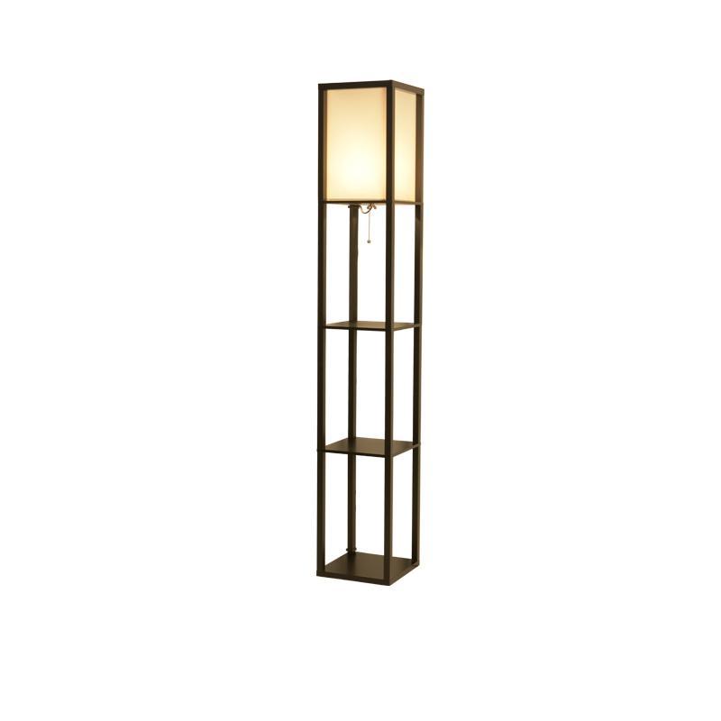 Simple Designs Floor Lamp Organizer Storage Shelf Fabric Lampshade Black Iron Art Floor Lights For Home Office Hotel Decoration New Arrival