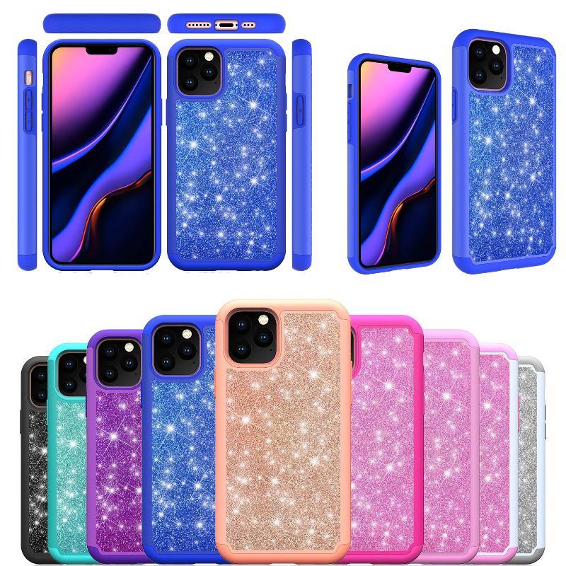 TPUT Protection complète design de luxe scintillant casse-phone antichoc bling housse arrière pour iPhone 12 11 XR XS Max Pro Moto G8