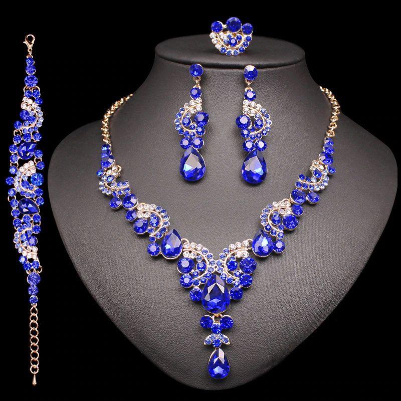 Fashion Indian Bridal Boucles d'oreilles Collier Ensemble Dubaï Luxe Crystal Mariage Ensembles de bijoux Ensembles Costume Parti Bijoux Cadeaux pour femmes LJ200904