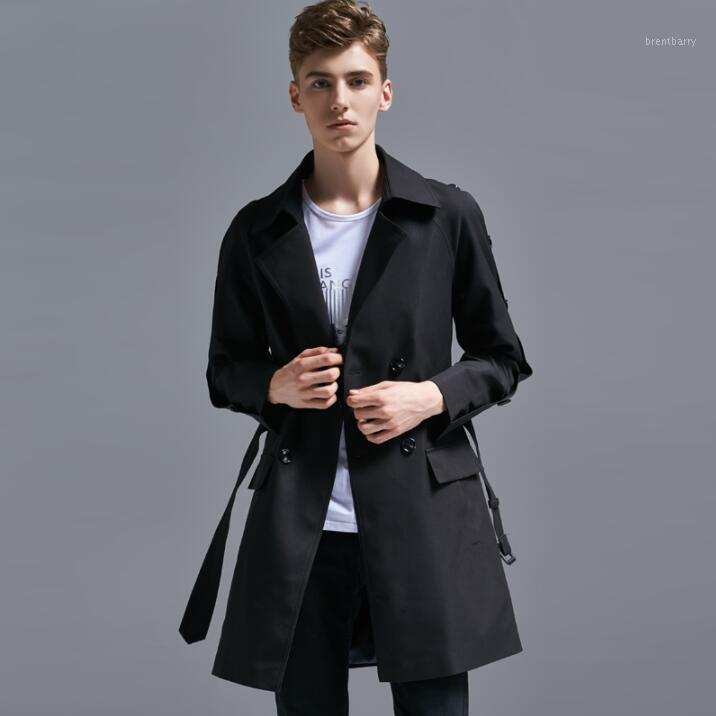 2019 Весна осень Новый дизайнер Мужская траншея Пальто мужчина Длинные пальто Мужская Одежда Тонкий двубортный пальто с длинным рукавом мода