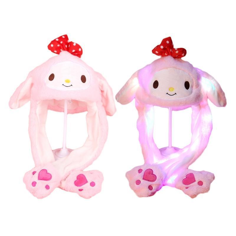 Los niños adultos iluminan el sombrero del animal de peluche con las orejas móviles de dibujos animados animal led brillar el tapa de la polla de la polla de los juguetes rellenos