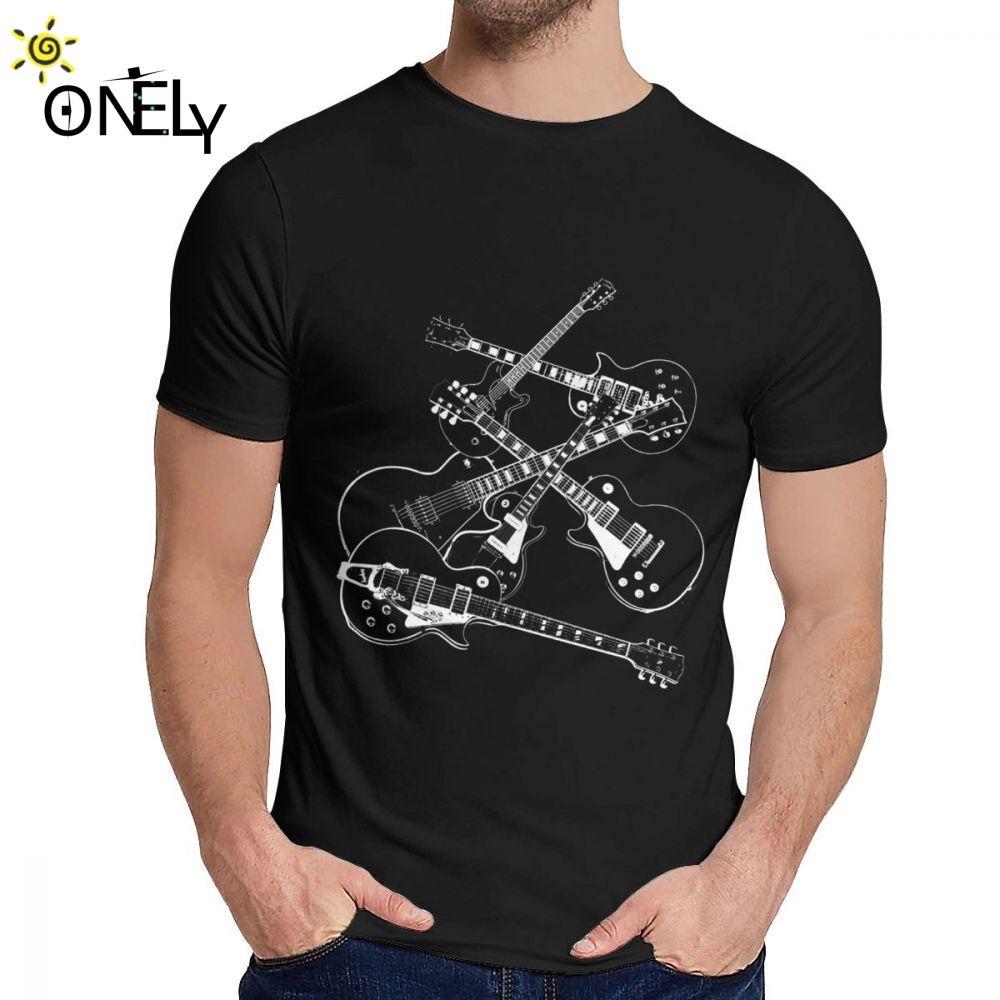 lo sport del collare rotondo Chitarre Elettriche La maggior parte di Tee Shirt casual per maschio puro cotone maglietta all'ingrosso