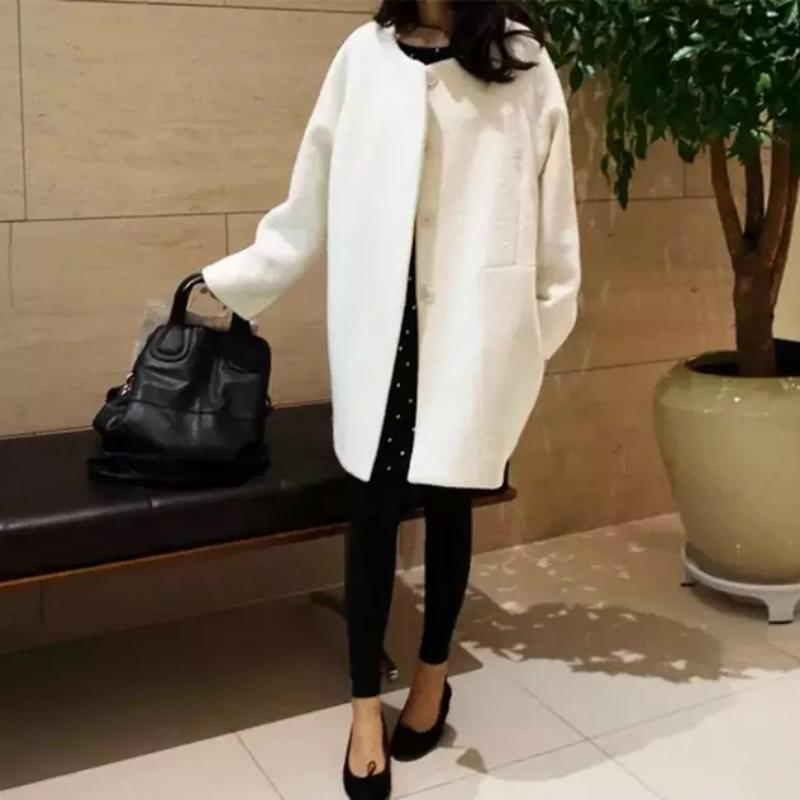 2020 Mulher do revestimento de lã Cocoon Jacket Longo Outono