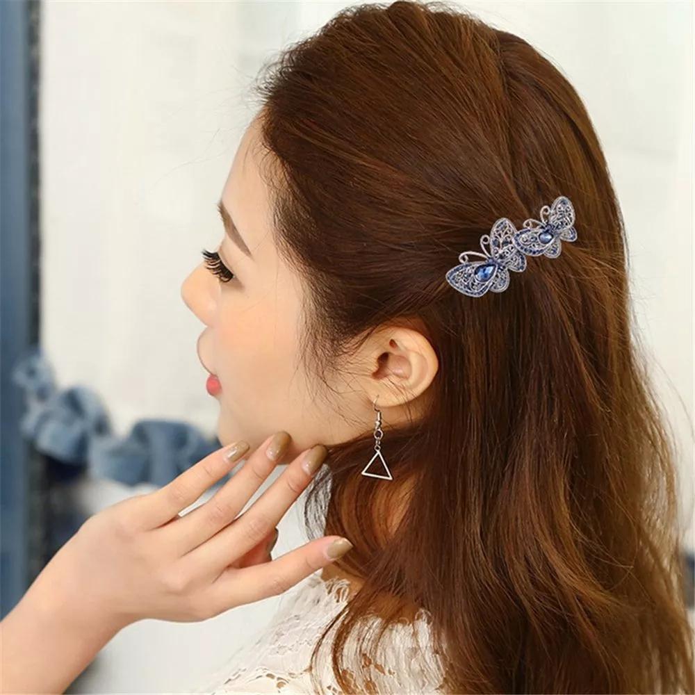 New Fashion Vintage Crystal Butterfly Hair Clip For Women Hair Accessories Flower Hairpin Headwear High Grade Hair Clip