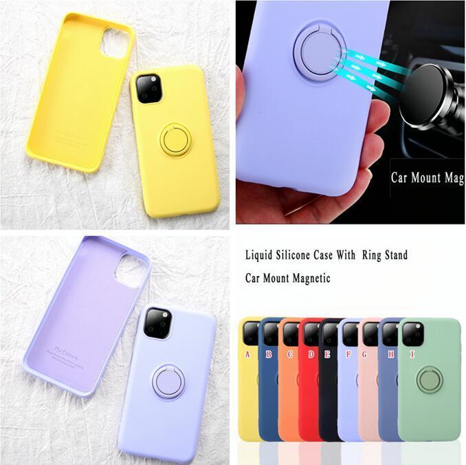 Luxe Bonbons Couleur anti-tache étui souple en silicone liquide pour iPhone 12 11 Pro Max 7 8 Plus avec support Retour Bague