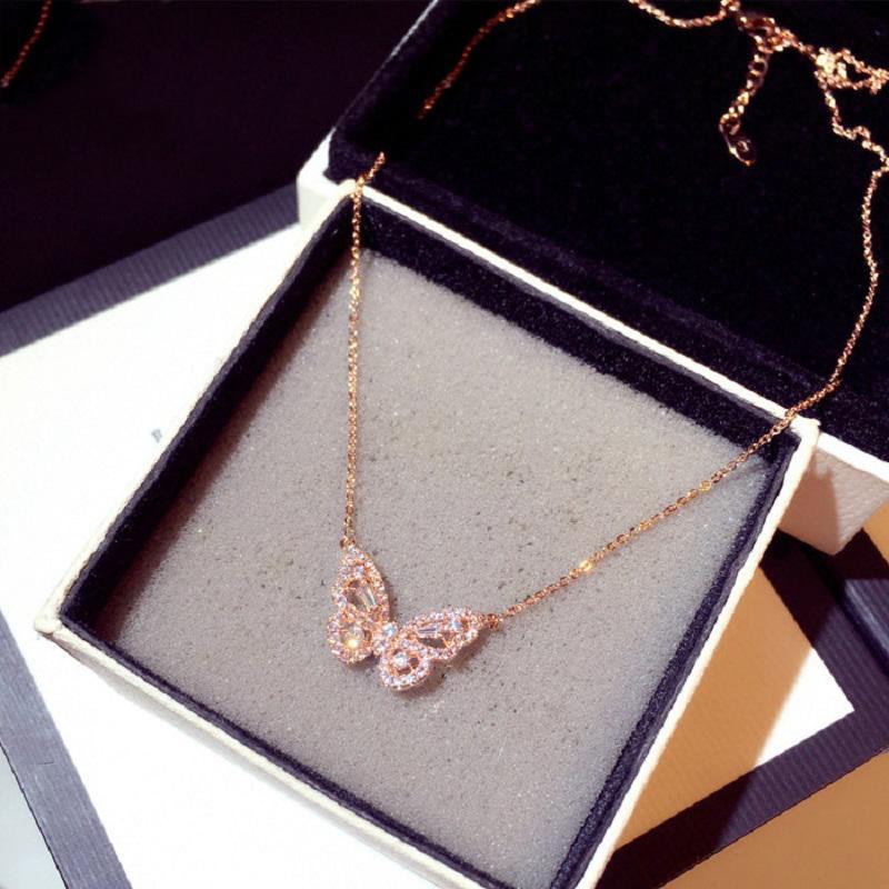 Ins Mode Zirkon Schmetterling Halskette Bling CZ Rose Gold Tier Charme Anhänger Aussage Halsketten Exquisite Schmuck Bijoux Für Frauen Mädchen