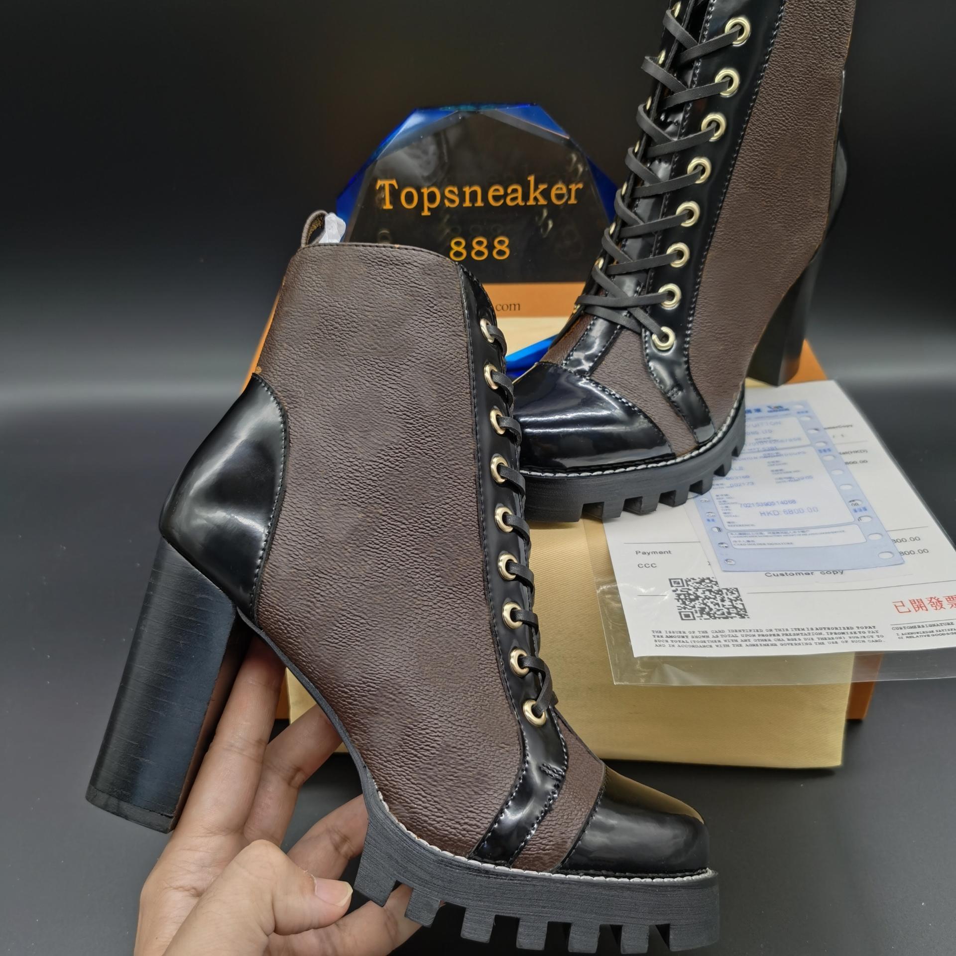 최고 품질의 여성 부츠 chunky 힐 마틴 laureate 부팅 블랙 화이트 옐로우 사이즈 UK3.5-UK9.5 Martins 여자 신발
