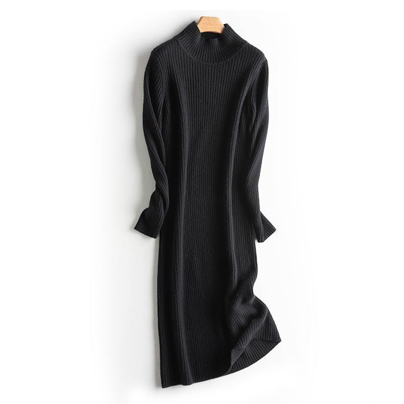 Casual Kleider Herbst und Winter Frauen Pullover Kleid Mode Gestrickte Langarm Weibliche Schwarz Rollkragene Knielange