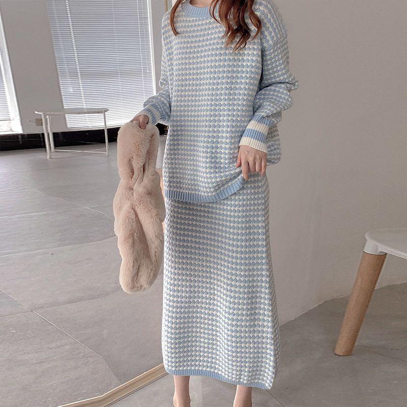 2 pezzi di autunno Knit Dot Donne Maglione Imposta dal O-collo Pullover femminile vestito casuale di modo Metà di-vitello Gonna donna Suits