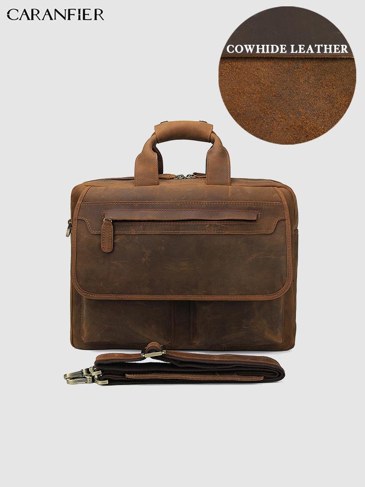 Caranfier Mens Bolso Flap Bags Businessmen Computador Couro Genuíno Cavalo Cowhide Vintage Backcases Crazy Messenger08 PXDGN
