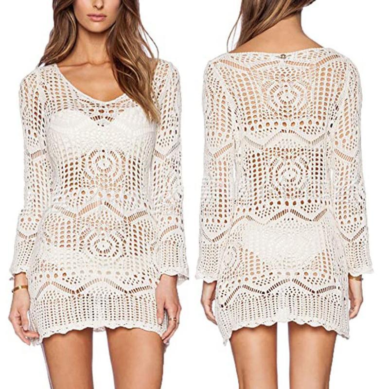 Blusas para mujer Camisas Tallas de moda Perspectiva de moda Blusa Hollow Playa Pullover Tops Net Bikini Cover Up Casual Lady Mujer Mujeres Largo S
