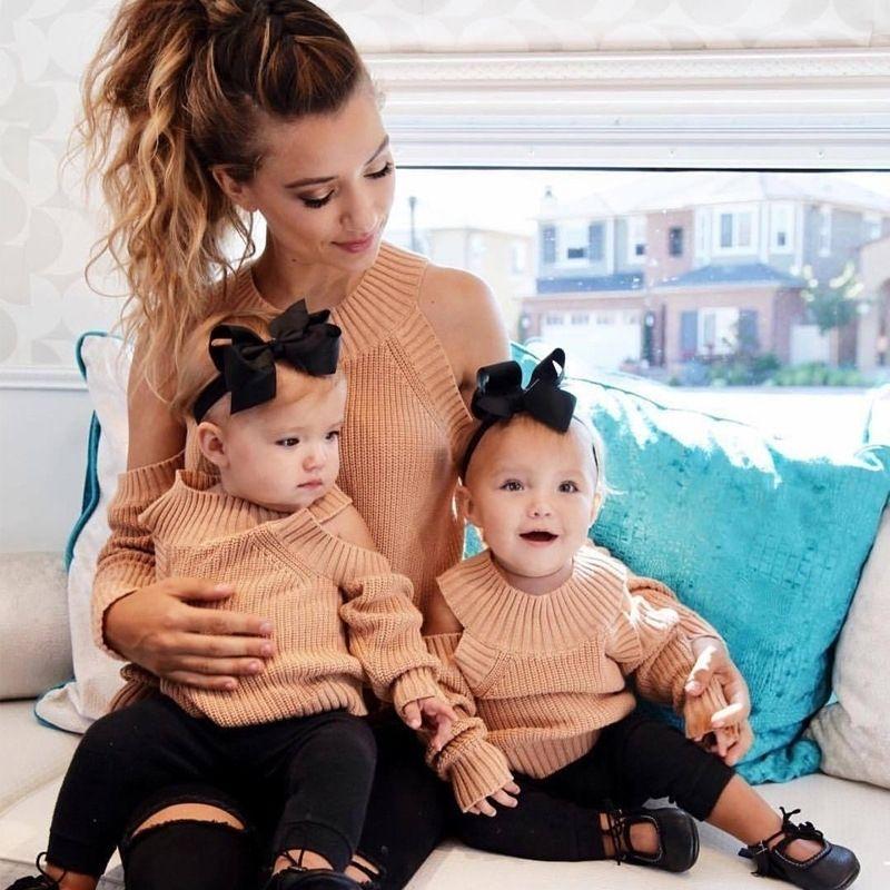 Madre hija fuera de los hombros suéteres vestido mamá y yo ropa familia mira madre e hija sets camisa de trajes a juego familiar 201128