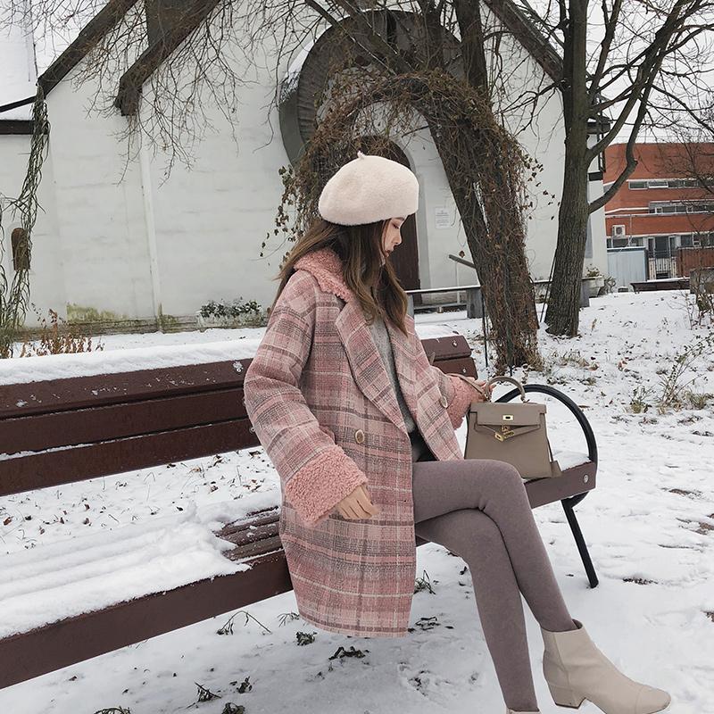 MISHOW autunno inverno plaid cappotto di lana donne causale di nuovo modo di preparazione bavero del cappotto lungo rosa MX18D9678 201009