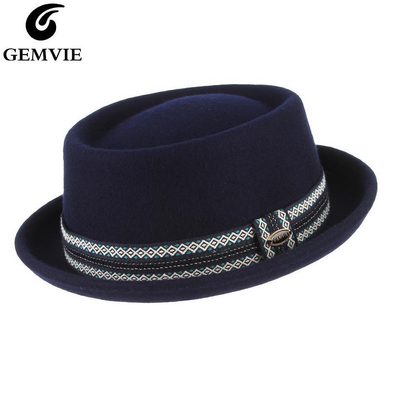 Gemvie 100% wełna filcu blue Porkpie kapelusz dla mężczyzn / kobiet kruszyć zakrzywiony brzeg wieprzowina ciasto wełniane kapelusz jesień zima fedora 201028