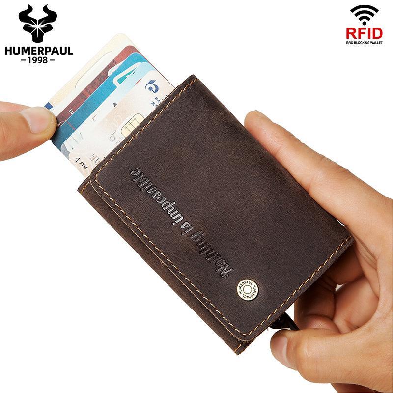 2020 Erkekler Kredi RFID Vintage Alüminyum İş KIMLIK Durumda Otomatik Tutucu Engelleme Kartı Walet LJ200907
