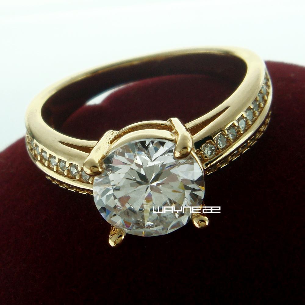R240-Größe 7 nette weiße Saphir 18K gelbes Gold füllte Ring-Geschenk der Frau