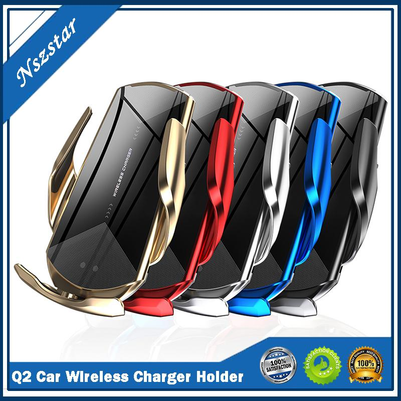Q2 Smart Sensor Car Wireless Charging Holder QI 10W Fast Charger Mobile Phone Holder Stand