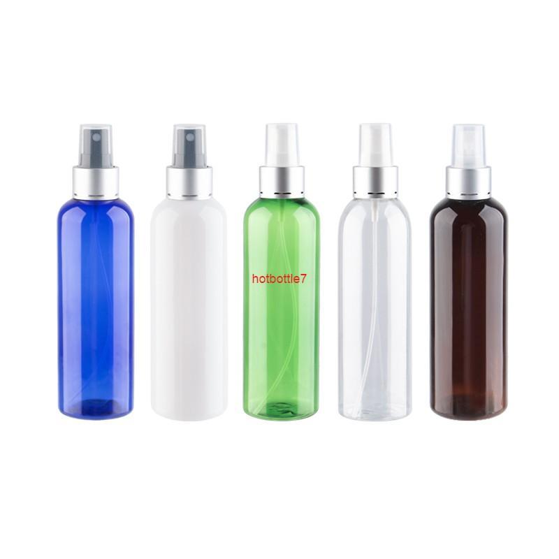 200 ml x 12 recipientes de plástico recargables con tapa de rociado de aluminio de plata 200cc botellas de pulverizador de molde de color mascota para cosmeticshigh qualtity