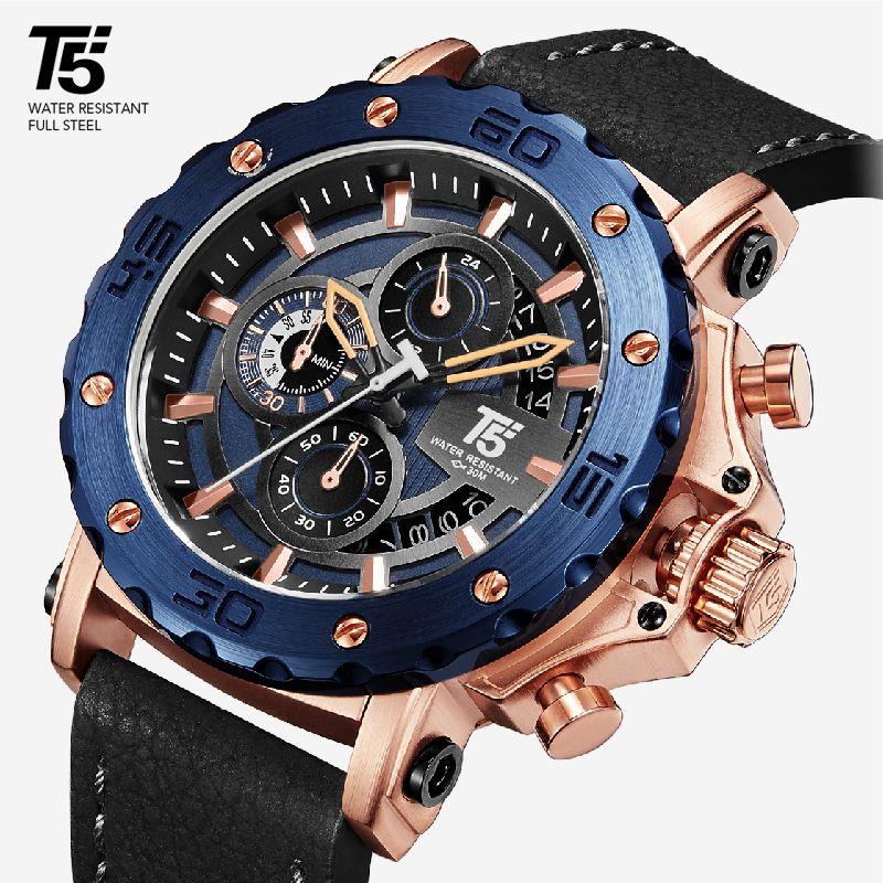 Cintura da uomo, timer al quarzo T5, impermeabile, orologio sportivo, rosa, oro, nero