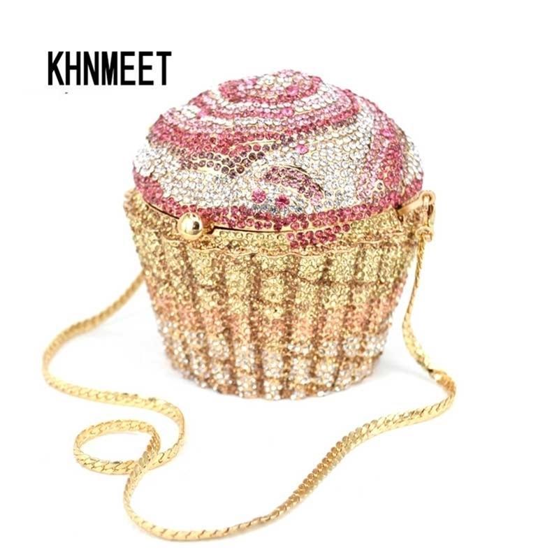 Crystal de luxe Sac de soirée de luxe de la marque de luxe Cupcake Diamond Embrayage Safee Bourse Femmes Mariage Mariage Cake Sacs à main SC515 Y201224