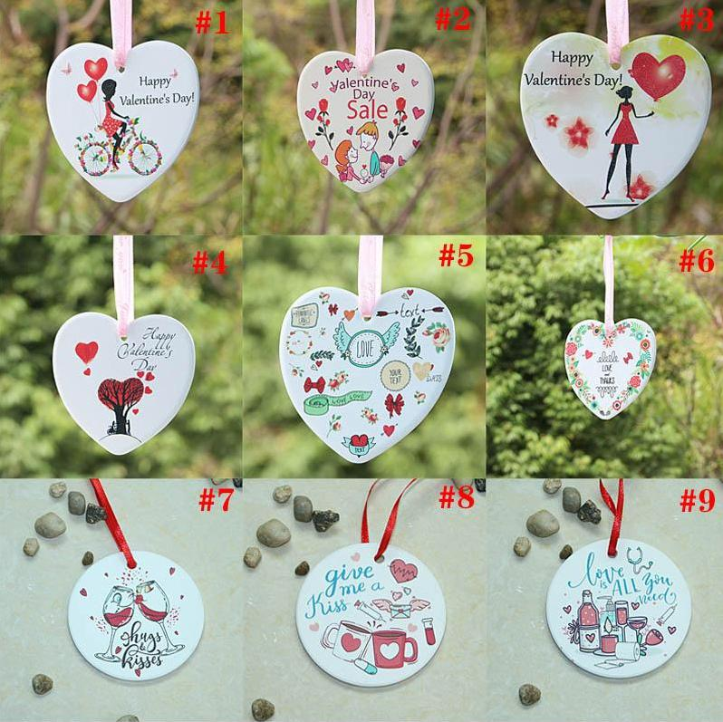 Ceramic DIY Double-sided UV Printing Valentine Day Gift Valentine Theme Fall In Love Pendant Ornament EEA3383