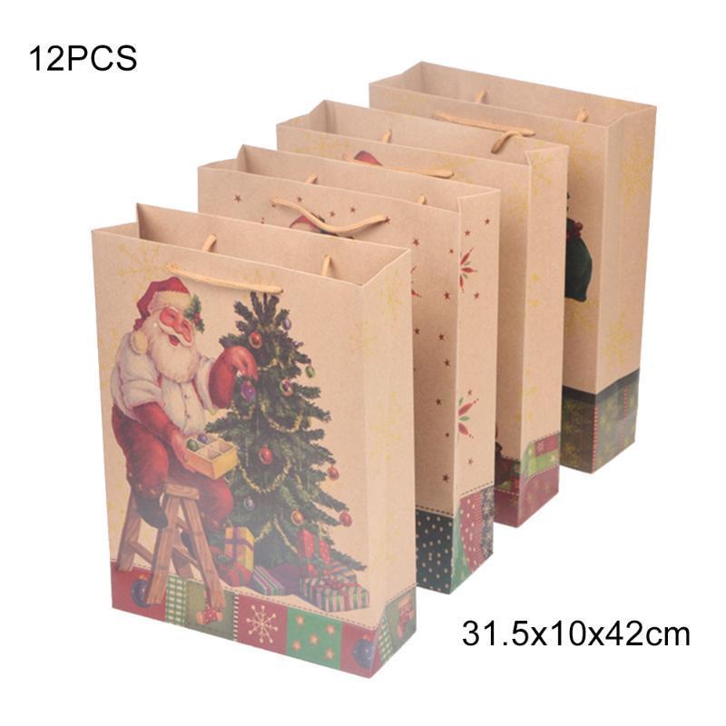 Подарочная упаковка 12 шт. Крафт бумаги пакеты конфеты коробка рождественские упаковки у упаковки сладости попкорн