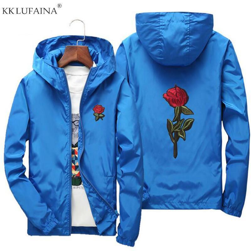 Dropshipping Sportswear Casacos Men jaqueta primavera faculdade Atacado Mulher Rose Flor Bordado Jackets Blusão Casual Men