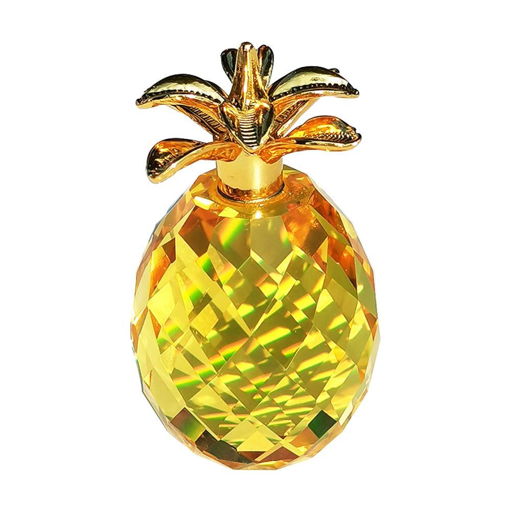 Accueil d'or décor de cuisine ananas cristal, salle à manger d'or de cristal accessoires d'ananas, des cadeaux d'ananas de cristal jaune pour dames