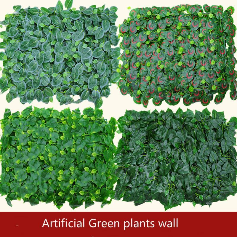 Искусственные Зеленых растения стен Пластикового газона поддельной этап фон декоративный завод Оптовый искусственный цветок Свадебная композиция