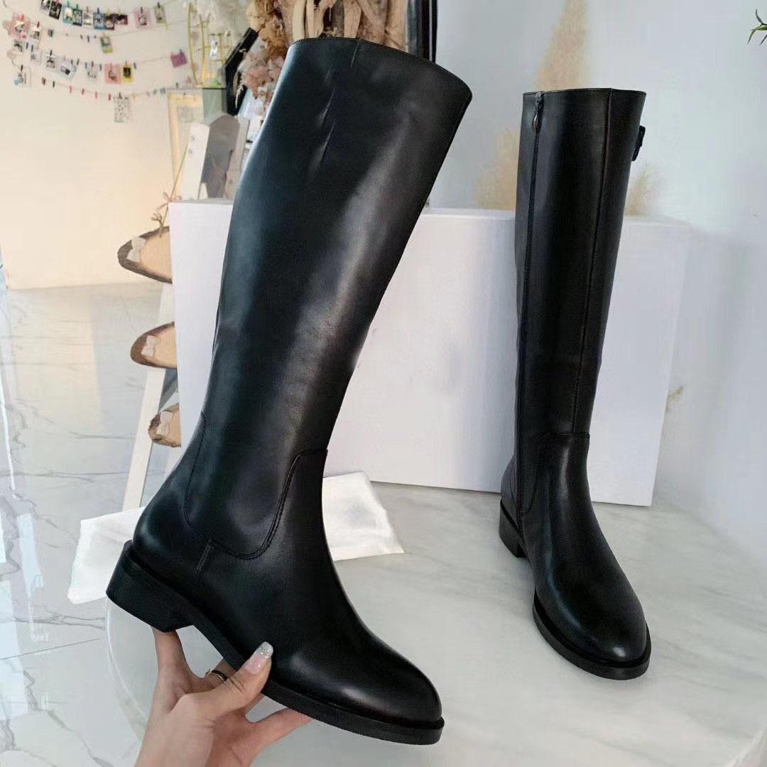 Negro de cuero genuino botas altas para las mujeres, Lady Marca bota plana zapatos de los tacones bajos, Luxury B-botines rodilla Con el arranque de la mujer de moda de invierno