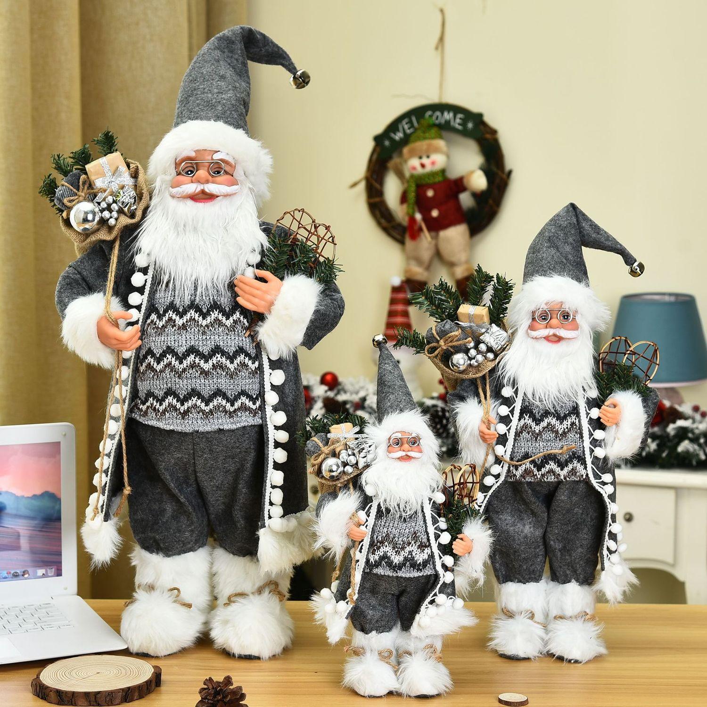 Novos acessórios venda quente cinza manto de volta saco de presentes Papai Noel decoração de casa